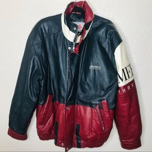VTG Perry Ellis America 90s Leather Varsity Jacket